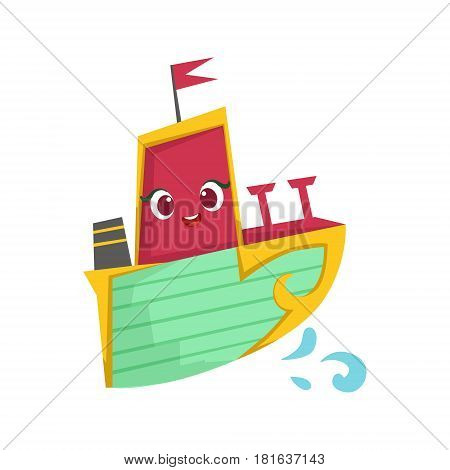 Pink, Green And Yellow, Cute Girly Toy Wooden Ship With Face Cartoon Illustration. Funny Isolated Water Transportation Character With Big Eyes And Smile.