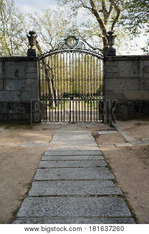Grid of the house of the Prince, in San Lorenzo de El Escorial. Madrid's community. Spain.