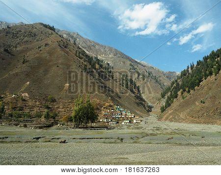 Landscape Of Damdama Village On Mountain Background, Naran, Northern Pakistan