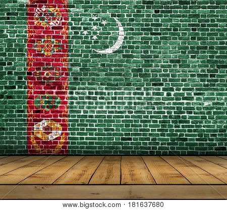 Turkmenistan flag painted on brick wall with wooden floor