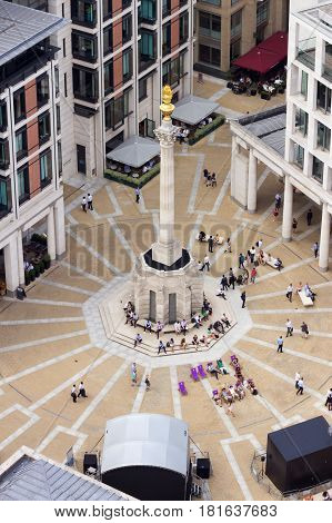 LONDON UK - JUL 1 2015: Paternoster Square in London. An urban development next to St Pauls Cathedral in the City of London England