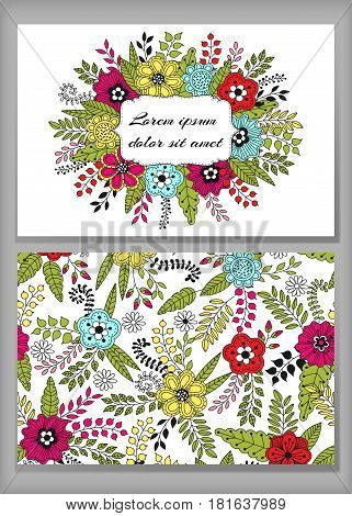 Floral card design flowers and leaf doodle elements. Cute frame made of flowersleaves berries. Vector decorative invitation. Spring elements. Use for card greeting invitation wedding party hen-party mother's day valentine