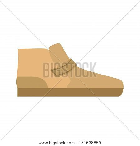 Flat Sole Brown Shoe, Isolated Footwear Flat Icon, Shoes Store Assortment Item. Cartoon Realistic Footgear Single Object, Fashion Accessory Simple Vector Illustration.