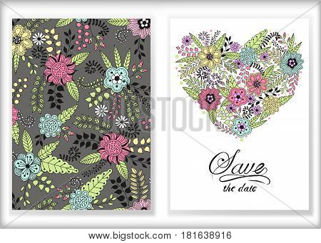 Floral card design flowers and leaf doodle elements. Cute heart shape made of flowers and leaves. Vector decorative invitation. Spring elements. Use for card greeting invitation wedding party hen-party mother's day valentine