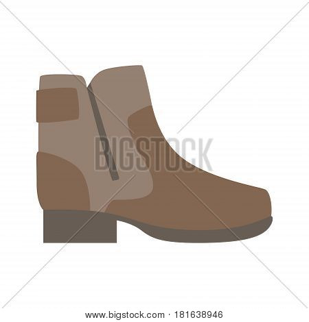 Sturdy Brown Shoe With Zip, Isolated Footwear Flat Icon, Shoes Store Assortment Item. Cartoon Realistic Footgear Single Object, Fashion Accessory Simple Vector Illustration.