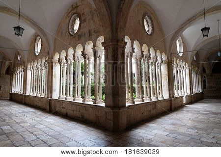 DUBROVNIK, CROATIA - NOVEMBER 08: The cloister of the Franciscan monastery of the Friars Minor in Dubrovnik, Croatia on November 08, 2016.