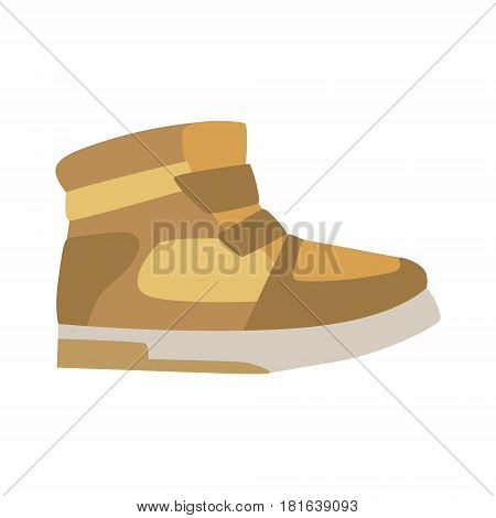 Autumn Season Leather Trainer Shoe, Isolated Footwear Flat Icon, Shoes Store Assortment Item. Cartoon Realistic Footgear Single Object, Fashion Accessory Simple Vector Illustration.