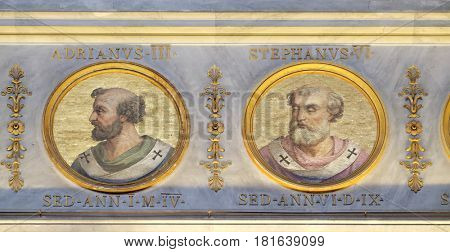 ROME, ITALY - SEPTEMBER 05: The icon on the dome with the image of Pope Adrian III and Stephen VI, the basilica of Saint Paul Outside the Walls, Rome, Italy on September 05, 2016.