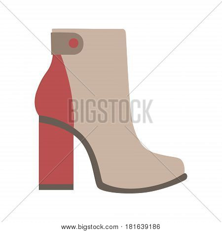 High Sturdy Heel Red And Grey Female Boot, Isolated Footwear Flat Icon, Shoes Store Assortment Item. Cartoon Realistic Footgear Single Object, Fashion Accessory Simple Vector Illustration.