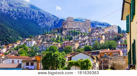 view of medieval town Celano with castle, Province of L'Aquila, Italy