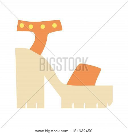 Chunky Heel Summer Shoes, Isolated Footwear Flat Icon, Shoes Store Assortment Item. Cartoon Realistic Footgear Single Object, Fashion Accessory Simple Vector Illustration.