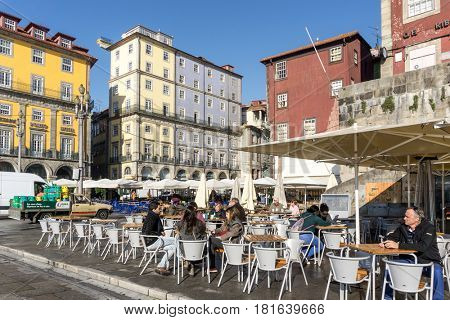 PORTO, PORTUGAL - November 17, 2016. Street view of Open-air cafes in Porto, Portugal, Europe, is the second largest city in Portugal, has a population of 1.4 million.