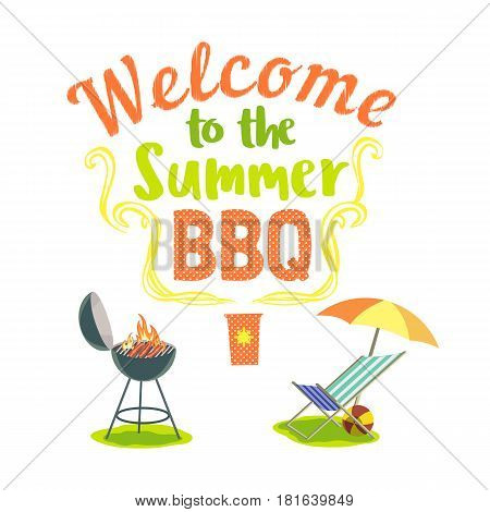Summer outdoors concept. Cartoon retro style poster. Welcome invitation to barbecue. Season holiday leisure banner background. Fancy letters. Vector BBQ grill, picnic chair, sun umbrella and ball icon