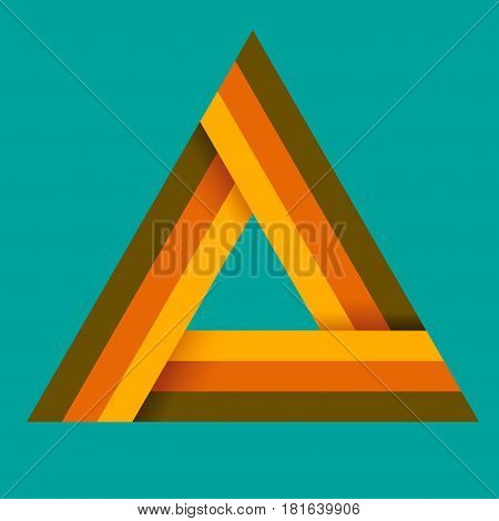 Triangle logo isometric infinity sharp corner geometric shape illusion hipster monogram converge overlapping line infinite icon innovation tech delta emblem
