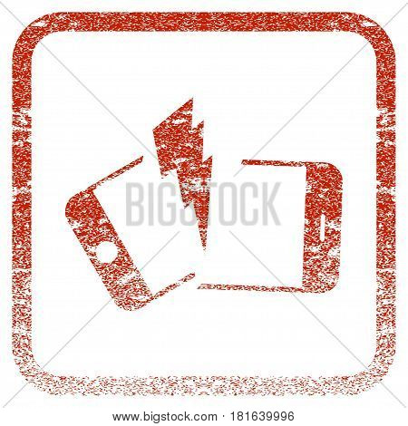 Broken Smartphone textured icon for overlay watermark stamps. Red vectorized texture. Flat red vector symbol with scratched design inside rounded square frame. Framed rubber seal stamp imitation.
