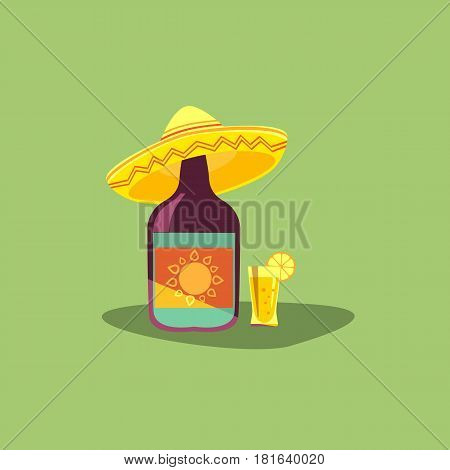Tequila icon. Mexican poster concept. Fancy flat style. decorative ornate. Bottle, shot glass alcohol, lime lemon. Sombrero traditional symbol of Mexico. Vector fiesta emblem background