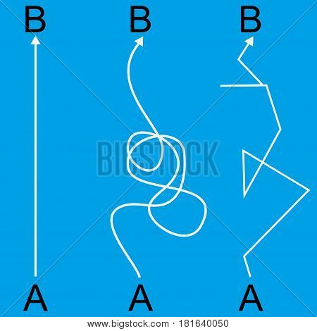 Straight and complicated paths from A to B on blue background. Problem solution and choice concept. Flat design