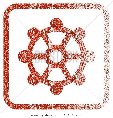 Cog textured icon for overlay watermark stamps. Red vectorized texture. Flat red vector symbol with dust design inside rounded square frame. Framed rubber seal stamp imitation.