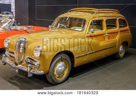 Bologna, italy December 3 2016: A brown Lancia Aurelia oldtimer vintage car