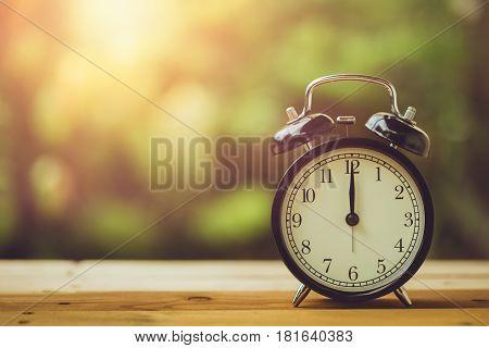 12 O'clock Retro Clock Vintage Color Tone In The Garden