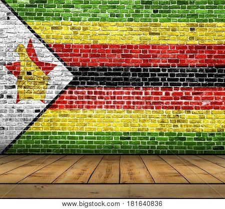 Zimbabwe flag painted on brick wall with wooden floor