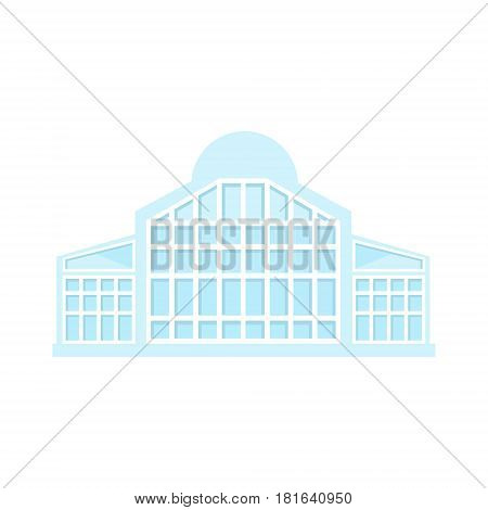 Full Glss Light Shopping Mall Modern Building Exterior Design Project Template Isolated Flat Illustration. Office Or Commercial Space Contemporary Architecture Project Idea Simple Vector Icon.