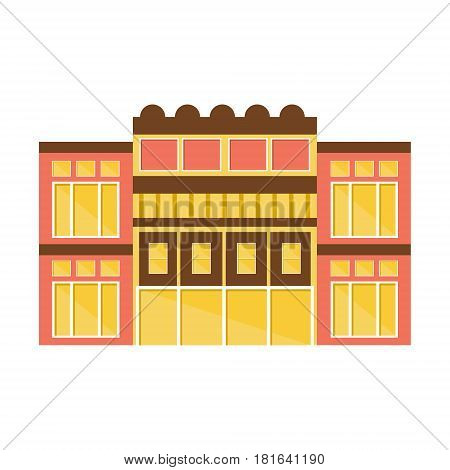 Clssical Pink And Yellow Shopping Mall Modern Building Exterior Design Project Template Isolated Flat Illustration. Office Or Commercial Space Contemporary Architecture Project Idea Simple Vector Icon.