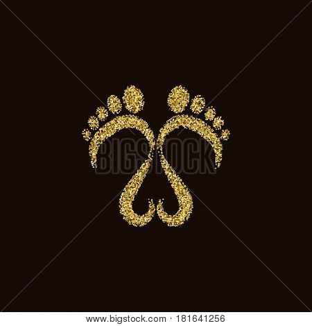 Glittery golden footsteps and a heart vector design