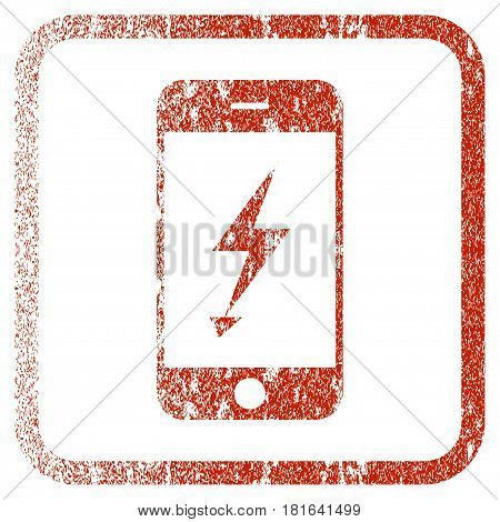 Electric Mobile Phone textured icon for overlay watermark stamps. Red vectorized texture. Flat red vector symbol with dirty design inside rounded square frame. Framed rubber seal stamp imitation.