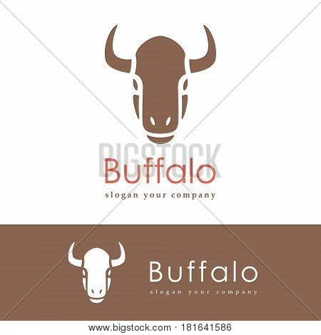 Abstract silhouette of a head buffalo. Animals logo design template. Vector illustration.