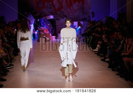 Kyiv, Ukraine - February 7, 2017: Models Walk The Runway During Fashion Show By Gasanova Autumn/wint