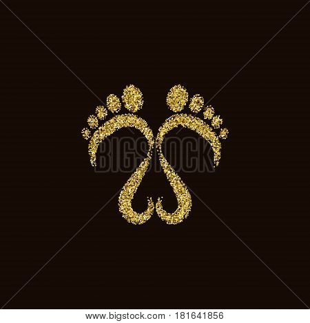 Footsteps golden glittery vector illustration made of circles