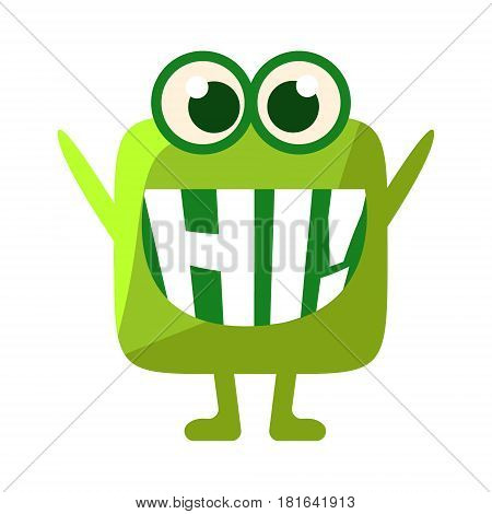 Green Blob Saying Hi, Cute Emoji Character With Word In The Mouth Instead Of Teeth, Emoticon Message. Cartoon Abstract Emoticon With Text In Flat Vector Illustration.
