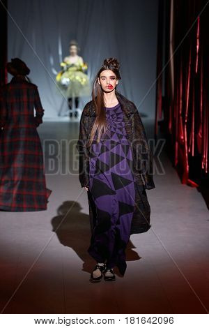 Kyiv, Ukraine - February 7, 2017: Models Walk The Runway During Fashion Show By Zalevskiy Autumn/win