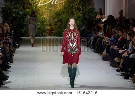Kyiv, Ukraine - February 7, 2017: Models Walk The Runway During Fashion Show By Iryna Dil Autumn/win