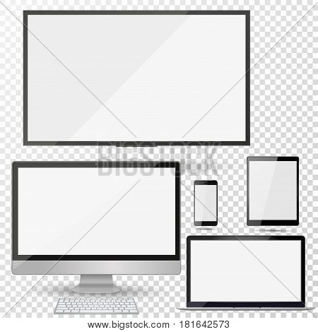 Set of realistic TV lcd led computer monitor laptop tablet and mobile phone with empty white screen. Various modern electronic gadget on isolate background. Vector illustration