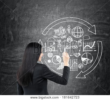 Rear view of a young businesswoman with black hair wearing a suit drawing a round business sketch on a blackboard.