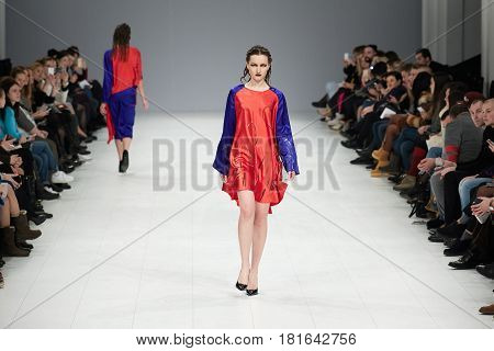 Kyiv, Ukraine - February 7, 2017: Models Walk The Runway During Fashion Show By Kass Autumn/winter 2