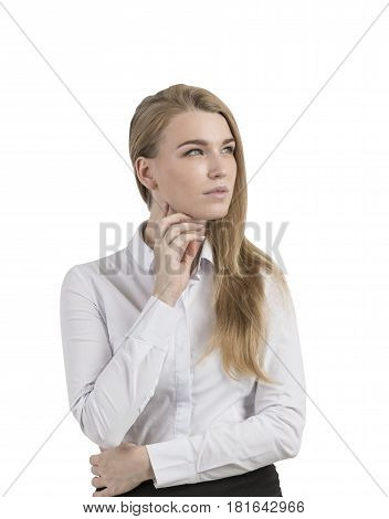 Pensive Blond Woman Isolated