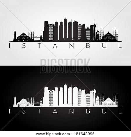 Istanbul skyline and landmarks silhouette black and white design vector illustration.