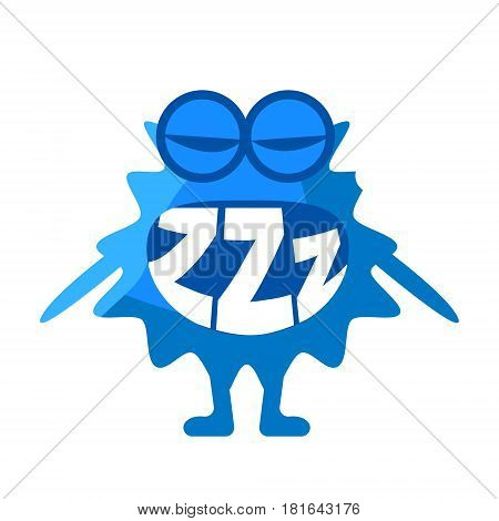 Blue Blob Saying ZZZ, Cute Emoji Character With Word In The Mouth Instead Of Teeth, Emoticon Message. Cartoon Abstract Emoticon With Text In Flat Vector Illustration.