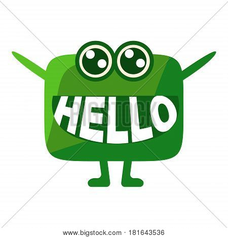 Green Blob Saying Hello, Cute Emoji Character With Word In The Mouth Instead Of Teeth, Emoticon Message. Cartoon Abstract Emoticon With Text In Flat Vector Illustration.