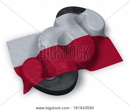 paragraph symbol and flag of poland - 3d rendering