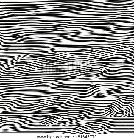 Abstract vector texture of curving lines black and white drawing halftone effect.