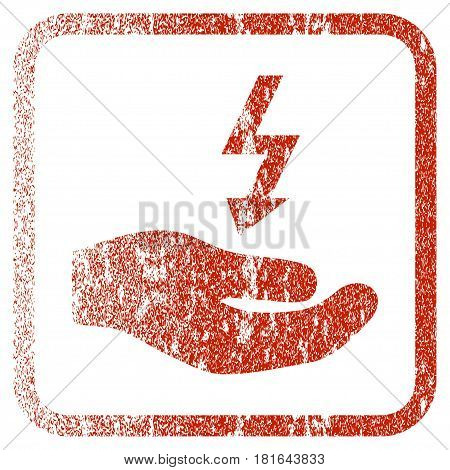 Electricity Supply Hand textured icon for overlay watermark stamps. Red vectorized texture. Flat red vector symbol with unclean design inside rounded square frame. Framed rubber seal stamp imitation.