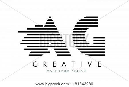 Ag A G Zebra Letter Logo Design With Black And White Stripes