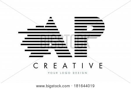Ap A P Zebra Letter Logo Design With Black And White Stripes