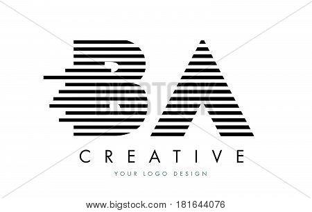 Ba B A Zebra Letter Logo Design With Black And White Stripes