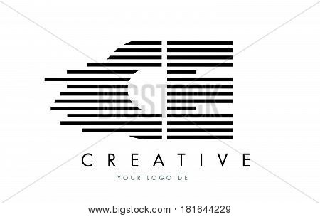 Cd C D Zebra Letter Logo Design With Black And White Stripes