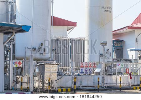 BANGKOKTHAILAND-December 252016: Liquid Nitrogen with dangerous chemical tank at Gas station